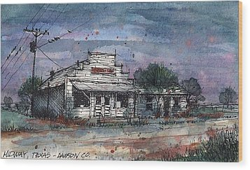 Wood Print featuring the mixed media Midway Texas Grocery by Tim Oliver