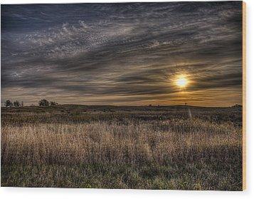 Midwest Sunrise Wood Print by Jeff Burton