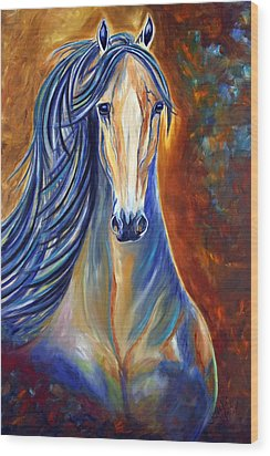Wood Print featuring the painting Mighty Mare Horse by Jennifer Godshalk