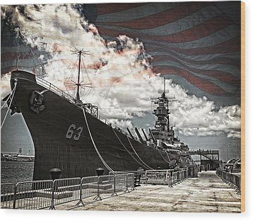 Mighty Mo U.s.s. Missouri Wood Print by Ken Smith