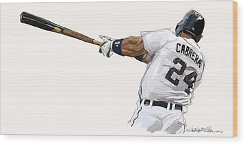Miguel Cabrera Mash Wood Print by Chris Ross