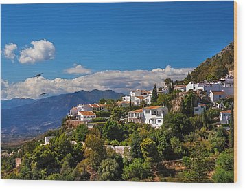 Mijas. White Village Of Spain Wood Print by Jenny Rainbow