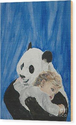 Mika And Panda Wood Print