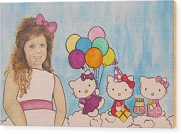 Wood Print featuring the painting Mika Hello Kitty by Tamir Barkan