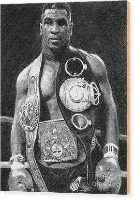 Mike Tyson Pencil Drawing Wood Print