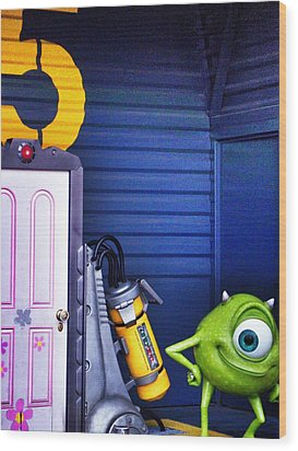 Mike With Boo's Door - Monsters Inc. In Disneyland Paris Wood Print by Marianna Mills