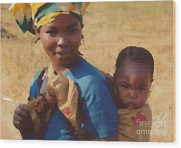 Milawi Mother And Child Wood Print by Joyce Gebauer