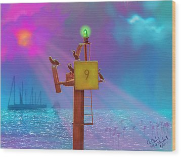 Mile Marker 9 Wood Print by Gerry Robins