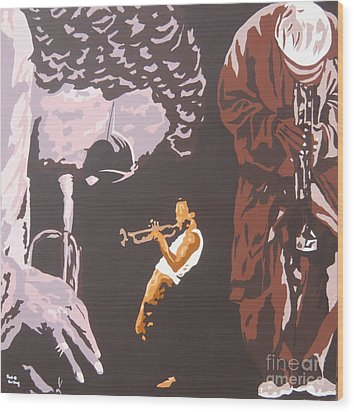 Miles Davis II Wood Print by Ronald Young