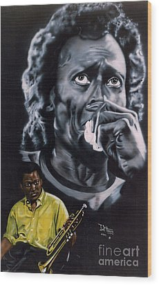 Wood Print featuring the painting More Miles Of Davis by Thomas J Herring