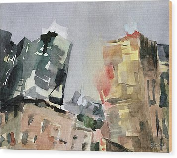 Milford Plaza 8th Avenue Watercolor Painting Of New York Wood Print by Beverly Brown