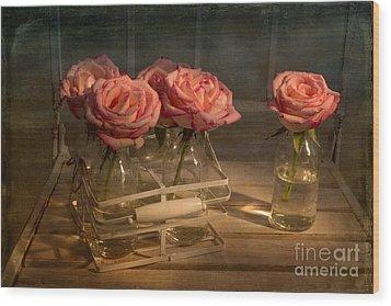 Milk Bottle Roses Wood Print by Ann Garrett