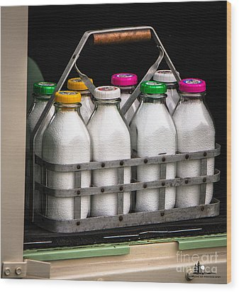 Milk Bottles Wood Print