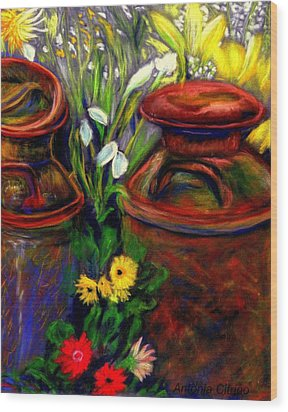 Milk Cans At Flower Show Sold Wood Print