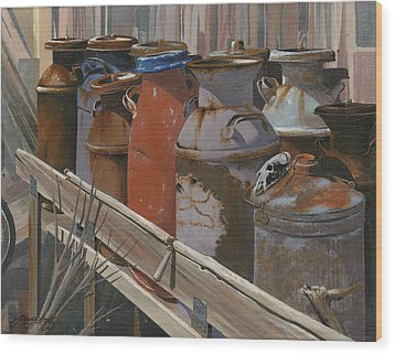 Milk Cans Wood Print by John Wyckoff
