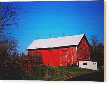 Milk House And Barn Wood Print