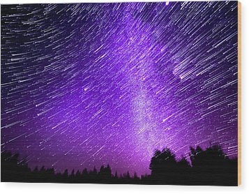 Milky Way And Star Trails Wood Print by Aaron Priest