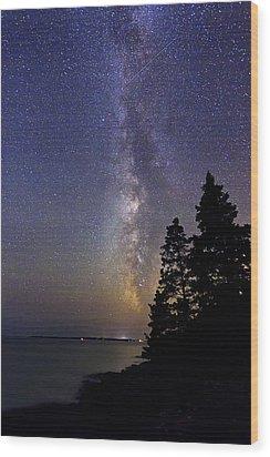 Milky Way At Acadia National Park Wood Print