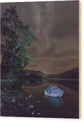 Milky Way At Gwenant Wood Print by Beverly Cash