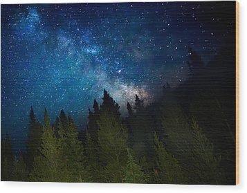 Milky Way On The Mountain Wood Print