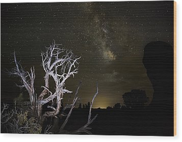 Milky Way Over Arches National Park Wood Print by Adam Romanowicz