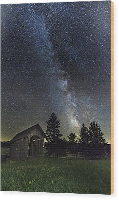 Milky Way Over Foster Covered Bridge Wood Print by John Vose