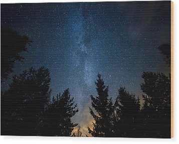 Milky Way Over The Forest Wood Print