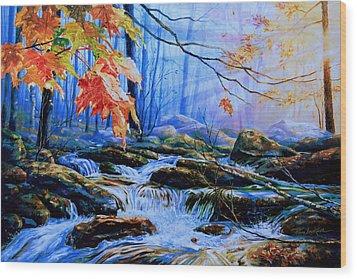 Mill Creek Autumn Sunrise Wood Print