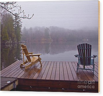 Mill Lake Mist Wood Print