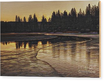 Mill Pond Freeze-d Wood Print by Nancy Marie Ricketts