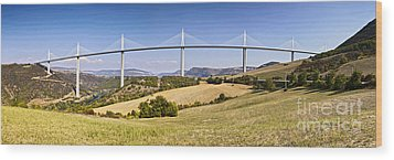 Millau Viaduct Panorama Midi Pyrenees France Wood Print by Colin and Linda McKie