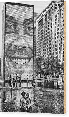 Millenium Park Smile Wood Print by Robert  FERD Frank
