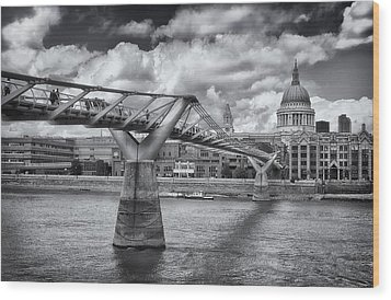 Millennium Bridge - St Pauls Cathedral Wood Print by Kim Andelkovic