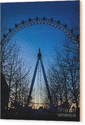 Wood Print featuring the photograph Millennium Eye London At Twilight by Peta Thames