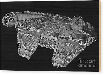 Millennium Falcon Wood Print by Kevin Fortier