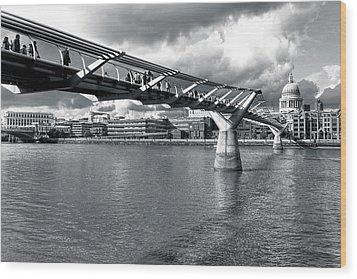 Millennium Foot Bridge - London Wood Print by Mark E Tisdale