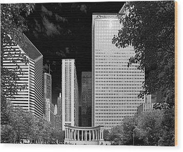 Millennium Park Monument - The Colonnade - Wrigley Square Chicago Wood Print by Christine Till