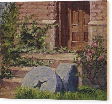 Millstones And Roses Wood Print by Jane Thorpe