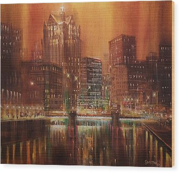 Milwaukee River Downtown Wood Print by Tom Shropshire