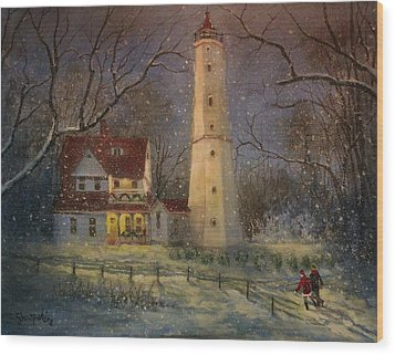 Milwaukee's North Point Lighthouse Wood Print by Tom Shropshire