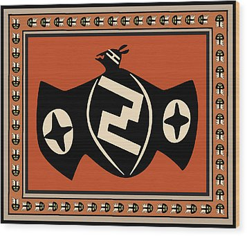 Wood Print featuring the digital art Mimbres Tribal Bat Spirit by Vagabond Folk Art - Virginia Vivier