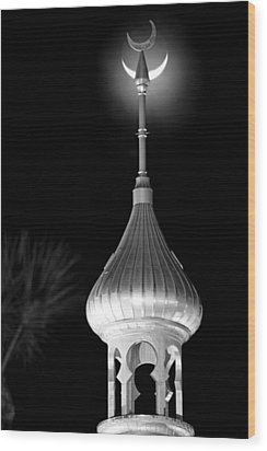 Minaret And Moon Over Tampa Wood Print