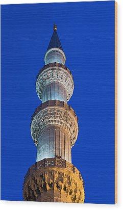 Minaret At Night Wood Print