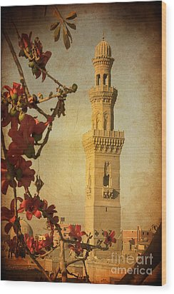 Wood Print featuring the photograph Minaret In Old Cairo Capital Of Egypt by Mohamed Elkhamisy