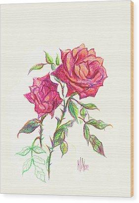 Minature Red Rose Wood Print by Kip DeVore