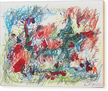 Wood Print featuring the painting Mind Games by Esther Newman-Cohen
