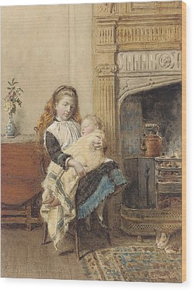 Minding Baby Wood Print by George Goodwin Kilburne