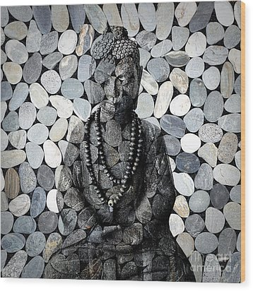 Mineral Buddha Wood Print by Delphimages Photo Creations