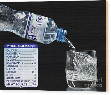 Mineral Water And Its Mineral Content Wood Print by Martyn F. Chillmaid