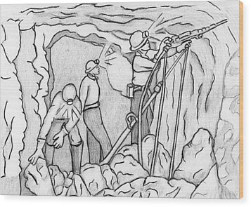 Miners At Work Wood Print